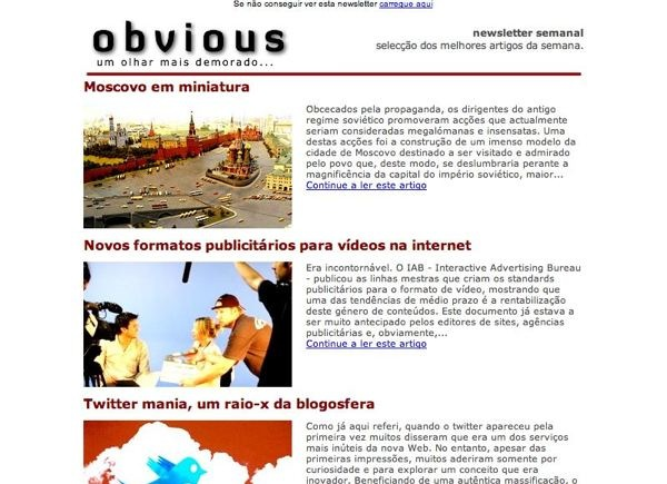 newsletter correio electronico obvious