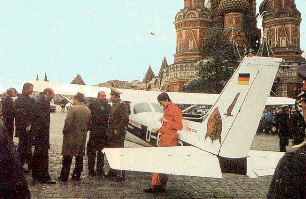 Mathias Rust lands on the Red Square