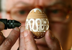 sculpture Franc Grom egg eggs drill