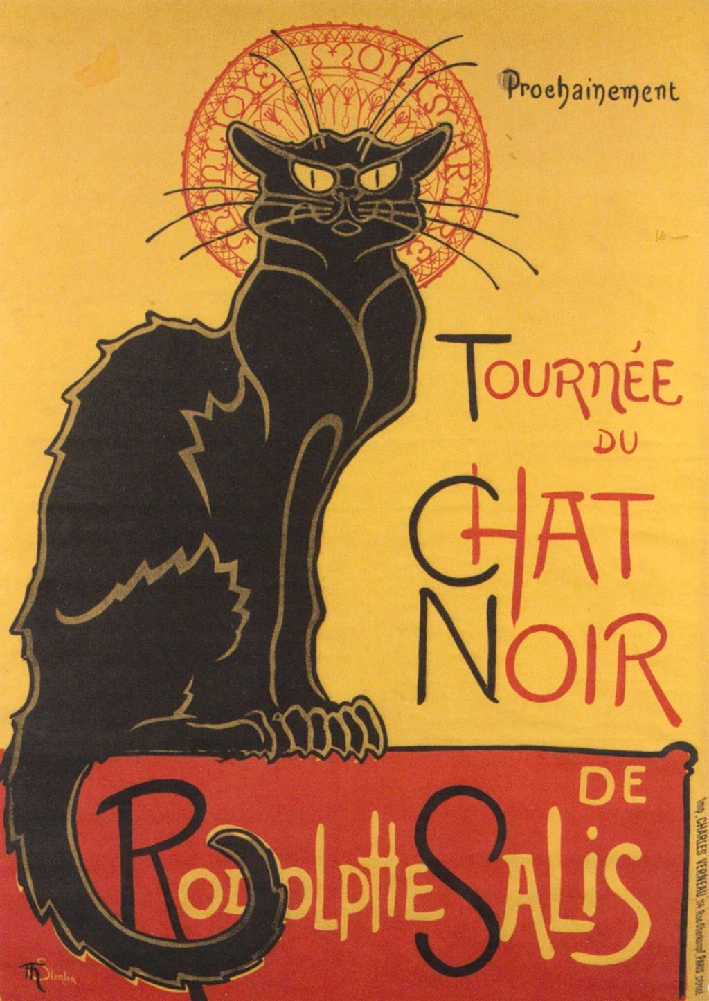 Poster advertising  the approaching tour of the shadow puppets theatre Le Chat Noir (the black cat) of Rodolphe Salis. 1896.jpg