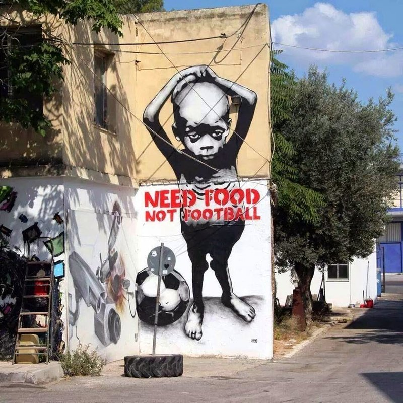 Need Food Not Football street art Sao Paulo