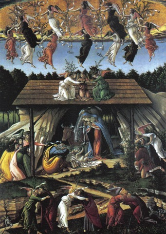 "Obra de Sandro Botticelli "" Mystic Nativity National Gallery, London"