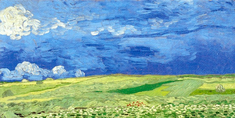 Wheatfield under a Cloudy Sky 1890 Van Gogh