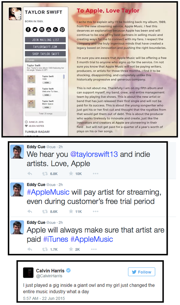 taylor letter to apple on tumblr and tweets apple and calvin harris.png
