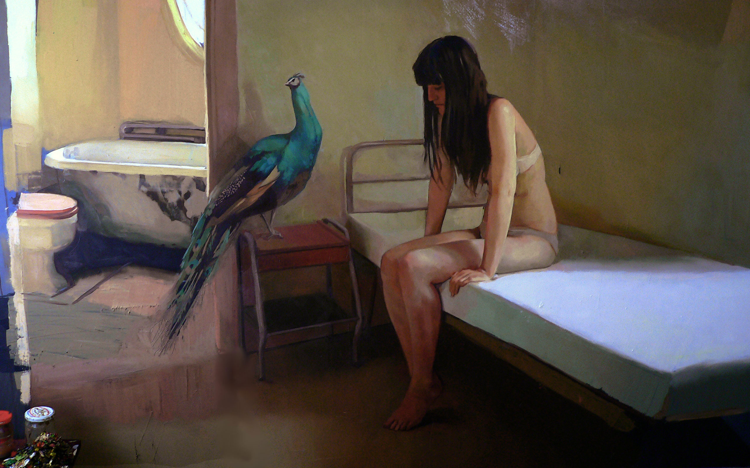 painting-girl-parrot-apartment-room-bath-toilet-sadness.jpg