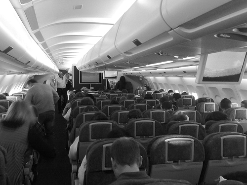Inside airplane BW